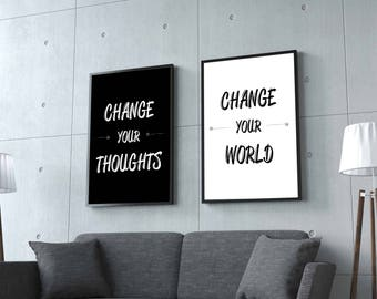 Change Your Thoughts & Change Your World - Typography Art Printable Set. Office Art | Wall Art | Home Decor | Motivational | Poster | Gift
