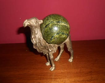 Art Deco  camel handmade artwork figure bronze with natural gemstone