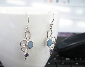opal earrings, 925 sterling silver earrings, opal jewelry,amethyst earrings