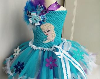 Elsa Frozen baby tutu set dress hair bow  birthday party photo prop outfit costume occasion cake smash princess
