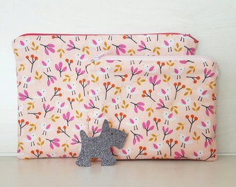 Set of pink organic cotton make-up case, tender little birds motifs