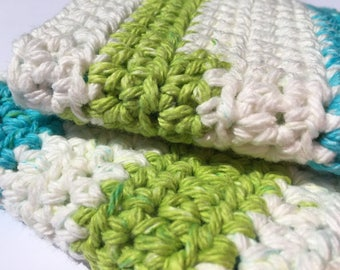 Set of 2 Handmade Crochet Washcloths in Blue and Green Stripe // Housewarming Gift // Kitchen & Bath