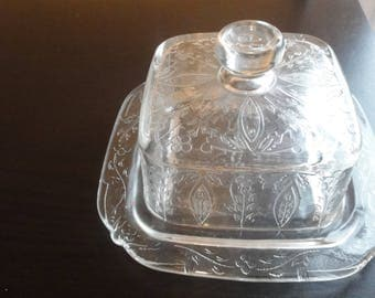 Delicate Pressed Glass Butter Dish
