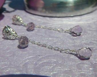 Pink amethyst tear drop dangle earrings in sterling silver