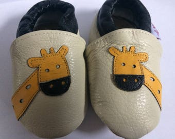 Happy Giraffe Whitwoobaby Beautifully Soft, Real Leather Moccasin Shoes for Babies and Toddlers