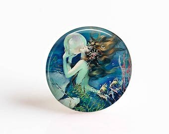 Mermaid with Pearl 25mm Glass Cabochon Set of 4