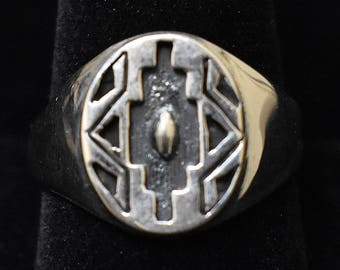 Small Size 11 Sterling Silver Ring, Overlay Style, Navajo SS New Mexico