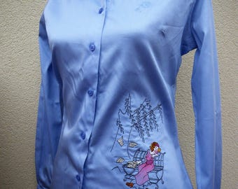 Shirt embroidered, blue, women shirt for the office, elegant blouse, fashion for women, romantic shirt, shirt tailor, business woman