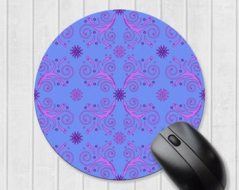 Blue mousepad, pink flourish pattern, mousepad in rectangle or circle, round mousepad, mouse pad, mouse mat