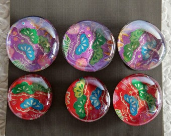 6 Handmade Magnets, Refrigerator Magnets, Fridge Magnets, Decorative Magnets, Glass magnets, Unique Gift, Colorful Magnet,Packaged Set