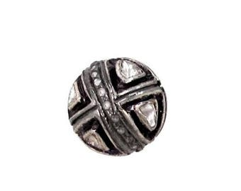Victorian style Rose cut Pave diamond large polki diamond 13mm bead Ball jewelry making / jewelry finding/ bracelets and necklace - PJBE2023