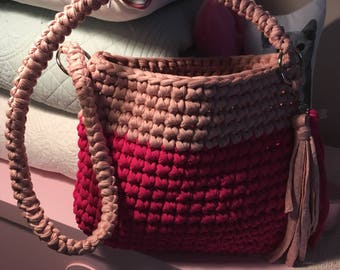 Handmade Tote Bag, Casual, Crocheted Funky Handbag