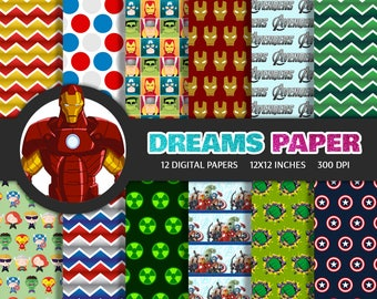 The Avengers - Digital Paper + Free Clipart