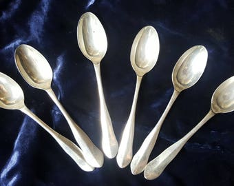 Antique silver teaspoon set of 6, 1918