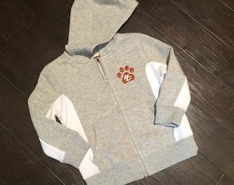 LITTLE GIRLS sparkle paw full zip hoodie