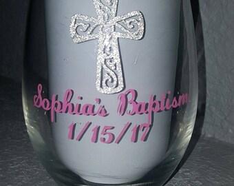 Baptism Wine Glass Favor, Godparents gift
