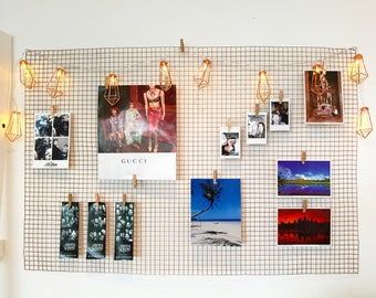 Copper wall display grid; Wire mesh noticeboard; Minimalist memo board; Photo display board