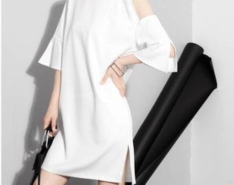 white dress offshoulder dress, modern dress , deqq, casual dress,