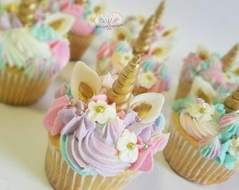Six edible unicorn horn cupcake toppers wth ears