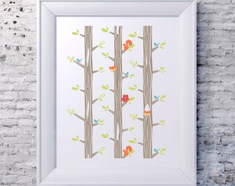 Illustrated Forest Critters Print