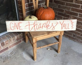 Give Thanks Y'all Sign