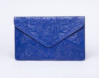 Theresa chiseled royal blue clutch