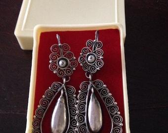 Sterling silver oaxaca filagree drip earrings pearl accent