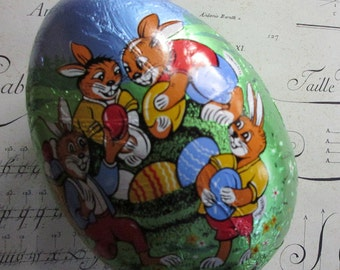 Paper Mache Egg Uncommon Vintage Western German Foil Wrapped Easter Bunny Easter Egg Box 5-1/2 Inch Germany