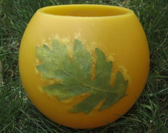 Oak Leaf Beeswax Lantern,Candle with Leaves,One of a kind Colorado Gift,Bees Wax Gifts, Wax Luminary,Beeswax Luminary, Gift for him