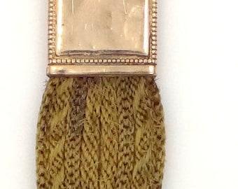 1860's 8 Strands Dark Blonde Hairwork Watch Fob Bracelet Civil War Era
