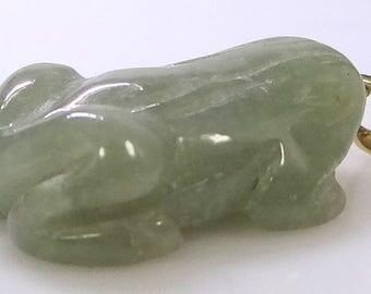 14k Gold Jadeite Figural Frog Pendant