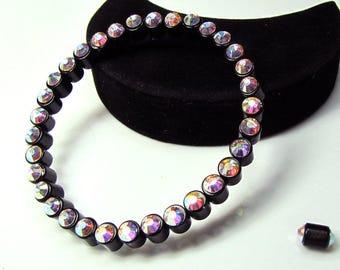 SALE! Crystal AB Rhinestone and Black Magnetic Bracelet Health Smart