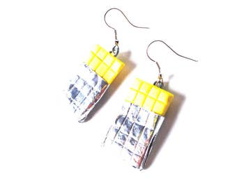 Earrings WHITE CHOCOLATE-- Miniature chocolate tablets earrings by The Sausage