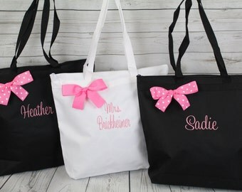 Personalized Zippered Tote Bags, Bridesmaid Gift, Embroidered Tote, Monogrammed Tote, Bridal Party Gift