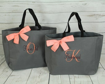6  bridesmaids gift bags , bridesmaids gifts , tote bag , beach bag , bachelorette party gift , bridal party gifts, bridesmaid tote, bride