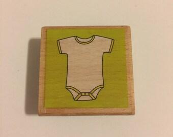 Baby Onesie Wooden Rubber Stamp