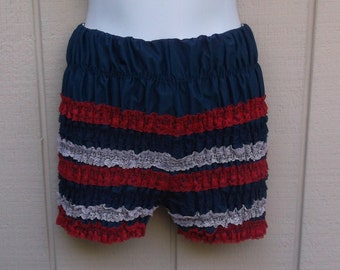 Vintage Red White and Blue Lace Pettipants - Square Dance Shorts / 60s Pantaloon Bloomers - Bloomer panties