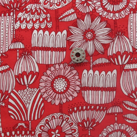 FAT EIGHTH Red White Pink Large Scale Floral Print Quilting Cotton Fabric   Just Another Walk in the Woods by Stacy Iest Hsu for Moda