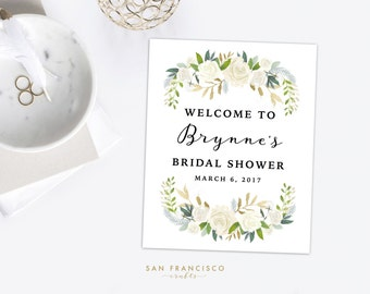 Bridal Shower Welcome Sign | Watercolor Floral, White, Gold | Wedding Welcome Sign | Custom - Printable, Digital File - Brynne Collection