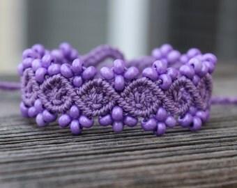 Micro-Macrame Beaded Bracelet - Purple