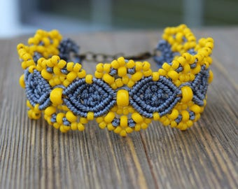 REDUCED Micro-Macrame Beaded Cuff Bracelet - Grey and Yellow