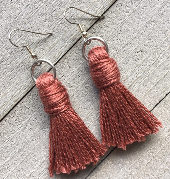 "Tassel Earrings Dangle Statement Earrings Boho Chic Earrings Tassel Jewelry Handmade  2"" Classic Cotton Plain Tassel in Blush Pink"