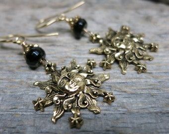 Count the Stars earrings ... antiqued gold sun and stars / black onyx