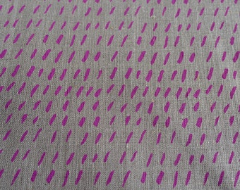 Fabric panel - Dashes in orchid purple ink on flax linen fabric. Textiles designed and screen printed in Melbourne.