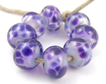 Shy Violet - Handmade Artisan Lampwork Glass Beads 8mmx12mm - Purple, Violet, Periwinkle - SRA (Set of 8 Beads)