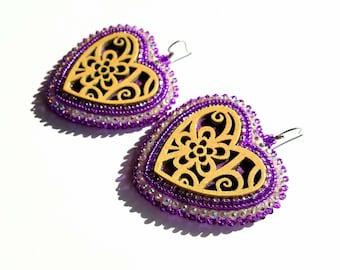 Native American Beaded Purple Heart Earrings