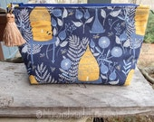 Makeup Bag | Honey Bee Fabric | Lined Makeup Bag | Bees and Hive Fabric | Colorful Makeup Bag | Small Gift Under 20 | Camera Accessory Bag