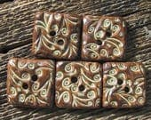 Ceramic Buttons, Square Buttons, Brown Buttons, Handmade Buttons, Swirled Buttons, Clay Buttons, Button Set, Matching Buttons, Rustic Button