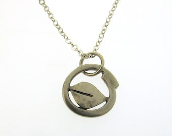 Leaf Charm Necklace, dainty silver leaf pendant, nature inspired necklace by Kathryn Riechert