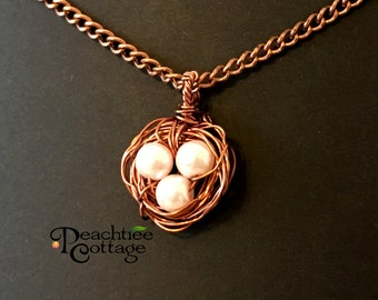Wire Wrapped Pendant - Wire Bird Nest Pendant - Bird Nest Pearl Pendant - Wire Pendant - Copper Bird Nest - Ready to Ship